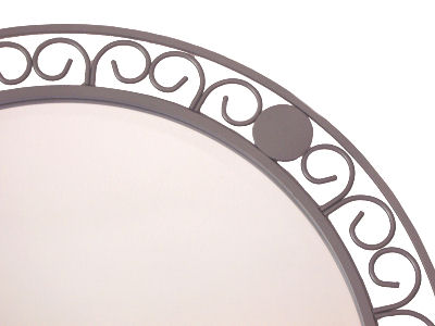 Circular Beveled Wrought Iron Mirror Close-Up
