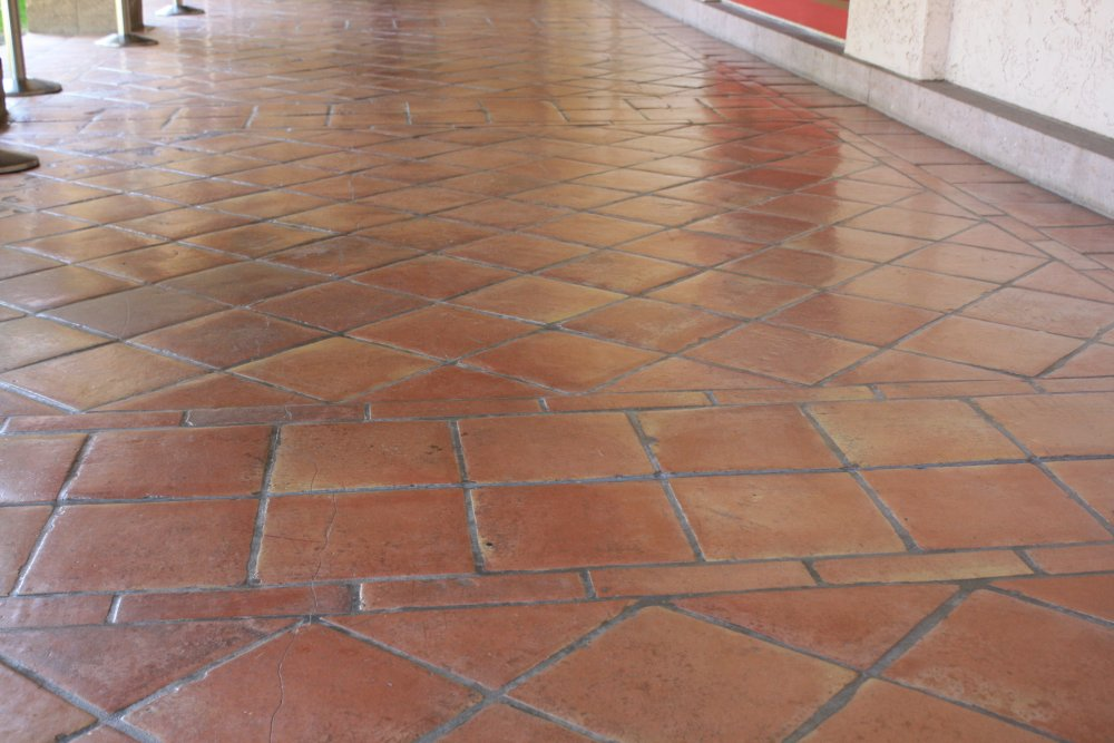 Saltillo Floor Tile In A Diagonal Pattern Mexican Home