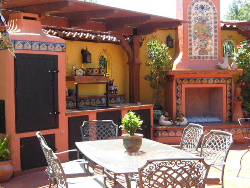 Mexican Tile And Mural Used Around A Fireplace, Mexican ... on Mexican Backyard Decor id=12707