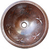 Round Undermount Stars Bathroom Hammered Copper Sink