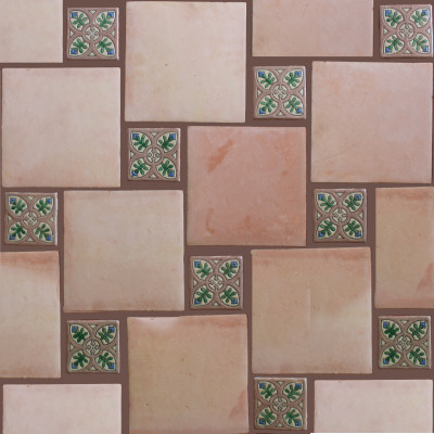 Square 10 Clay Saltillo Tile Close-Up
