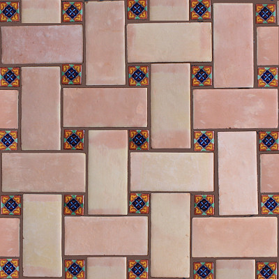 Rectangular Saltillo Floor Tile Close-Up
