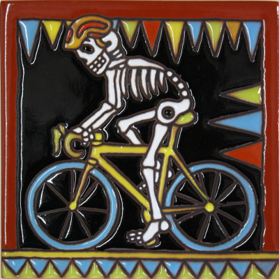 Biking. Day-Of-The-Dead Clay Tile
