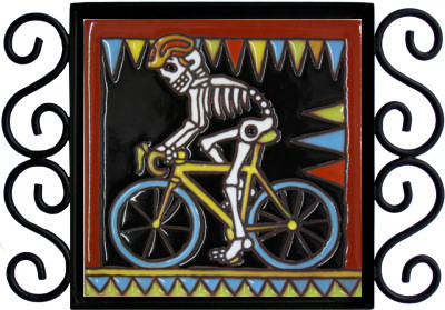 Biking. Day-Of-The-Dead Clay Tile Close-Up