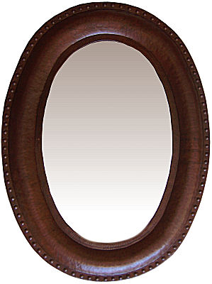 Oval Hammered Copper Mirror
