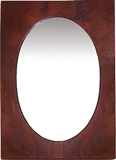 Big Hammered Oval Copper Mirror