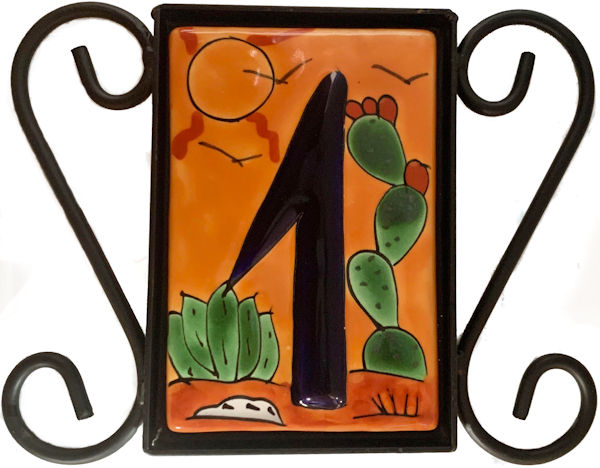 Wrought Iron House Number Frame Desert 1-Tile Close-Up