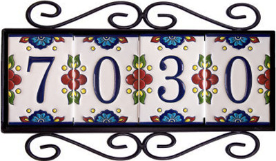 Wrought Iron House Number Frame Mission 4-Tiles Close-Up