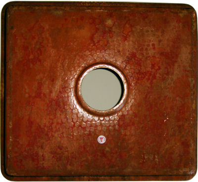 Natural Color Flat Hammered Copper Kitchen Sink Close-Up