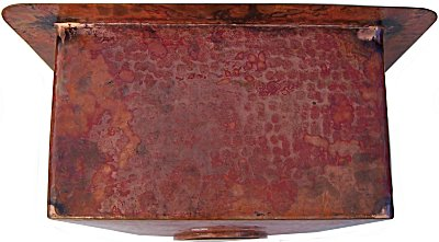 Natural Squared Hammered Bar Copper Sink Details