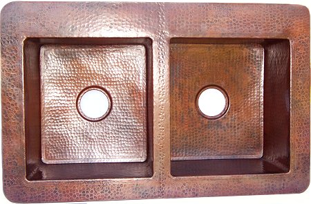 Double Well Farmhouse Hammered Copper Sink
