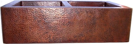 Double Well Farmhouse Hammered Copper Sink Close-Up