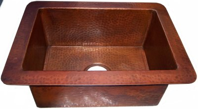 Terra Hammered Flat Copper Kitchen Sink