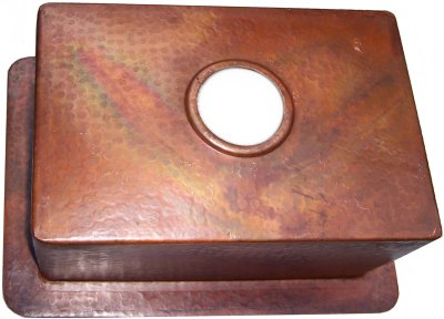 Terra Hammered Flat Copper Kitchen Sink Details