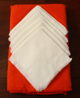 Orange Rectangular Mexican Tablecloth 6 Napkins