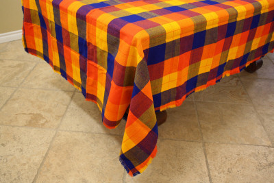 Multicolor Rectangular Mexican Tablecloth 6 Napkins Close-Up