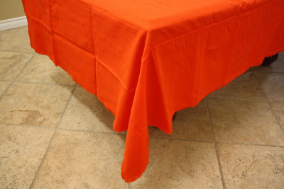 Orange Rectangular Mexican Tablecloth 6 Napkins Close-Up