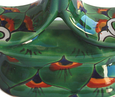 Green Peacock Talavera Candle Holder Close-Up