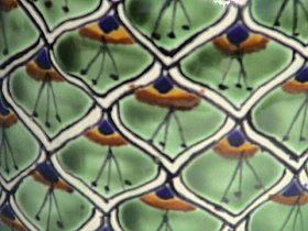 Peacock Mermaid Talavera Flower Vase Close-Up