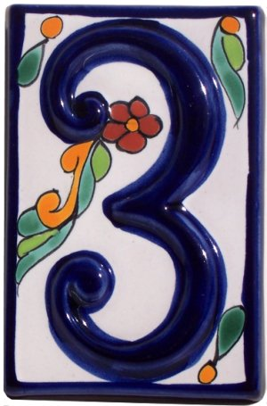 Colonial Talavera Ceramic House Number Three