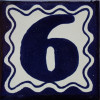 Blue Talavera Tile Number Six