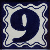 Blue Talavera Tile Number Nine