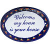 Peacock Talavera Ceramic House Plaque. Welcome my house is your house