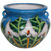 Small-Sized Aqua Lily Talavera Mexican  Colors Ceramic Garden Pot