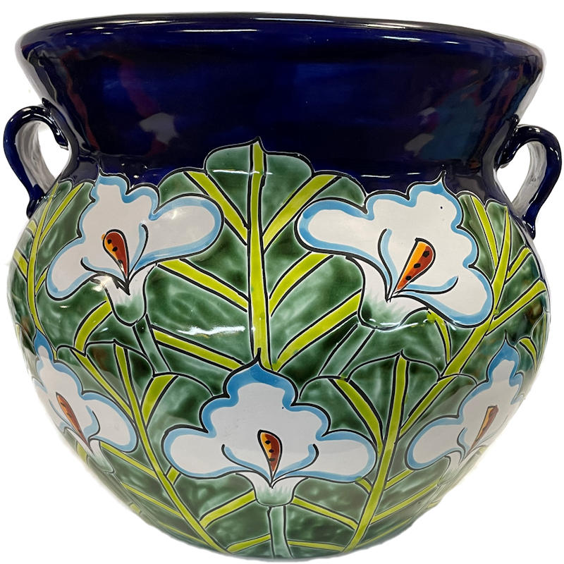 Medium-Sized Blue Lily Mexican Colors Talavera Ceramic Garden Pot