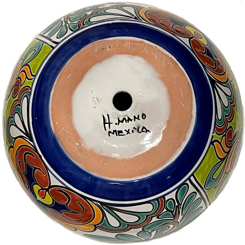 Small-Sized Rainbow Mexican Colors Talavera Ceramic Garden Pot Details