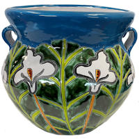 Medium-Sized Aqua Lily Mexican Colors Talavera Ceramic Garden Pot