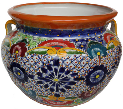 Medium-Sized Cherato Mexican Colors Talavera Ceramic Garden Pot