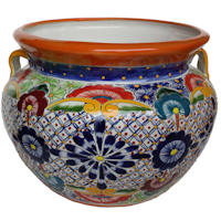 Small Multicolor Talavera Ceramic Pot