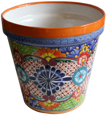 Medium-Sized Ayumba Mexican Colors Talavera Ceramic Garden Pot