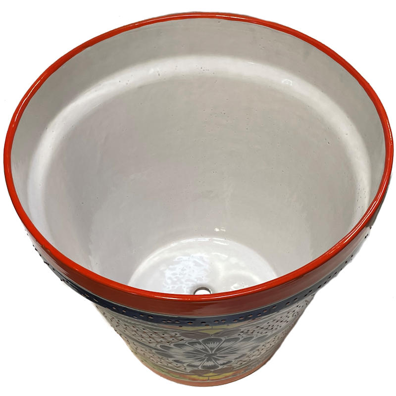 Medium-Sized Ayumba Mexican Colors Talavera Ceramic Garden Pot Close-Up