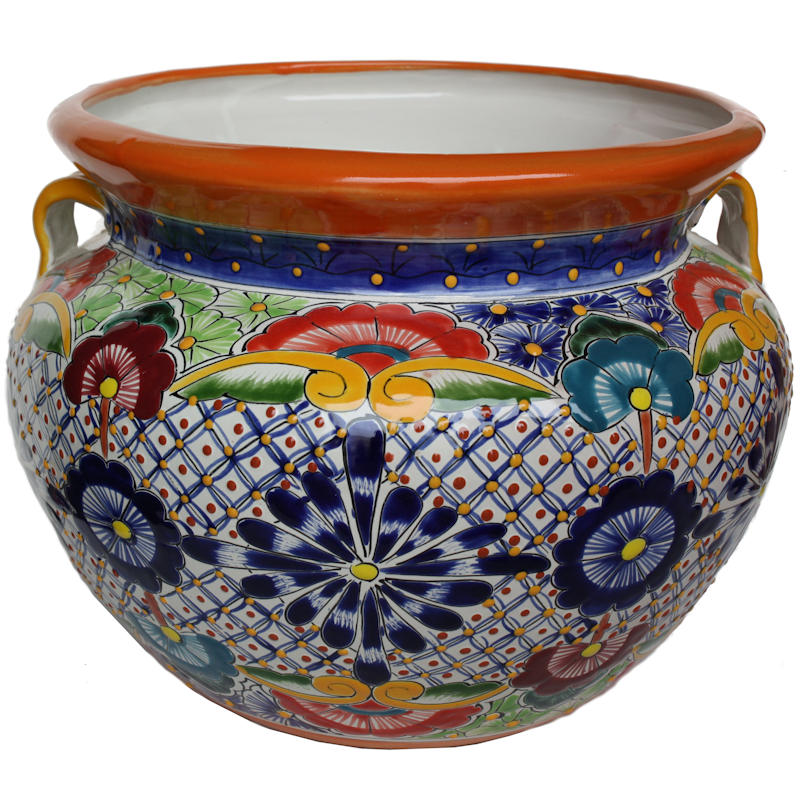 Large-Sized Cherato Mexican Colors Talavera Ceramic Garden Pot