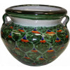 Small-Sized Green Peacock Mexican Colors Talavera Ceramic Garden Pot
