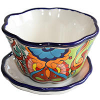 Small-Sized Petunia Mexican Colors Talavera Ceramic Garden Pot