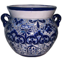 Medium Size Traditional Blue Talavera Ceramic Pot