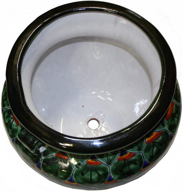 Medium Size Green Peacock Talavera Ceramic Pot Close-Up