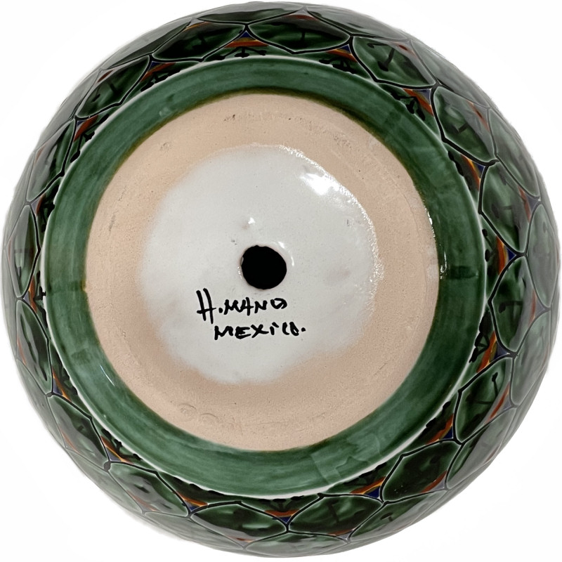 Medium Size Green Peacock Talavera Ceramic Pot Details