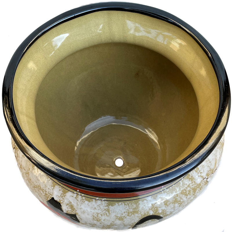 Small Lily/Sunflower Talavera Ceramic Pot Close-Up