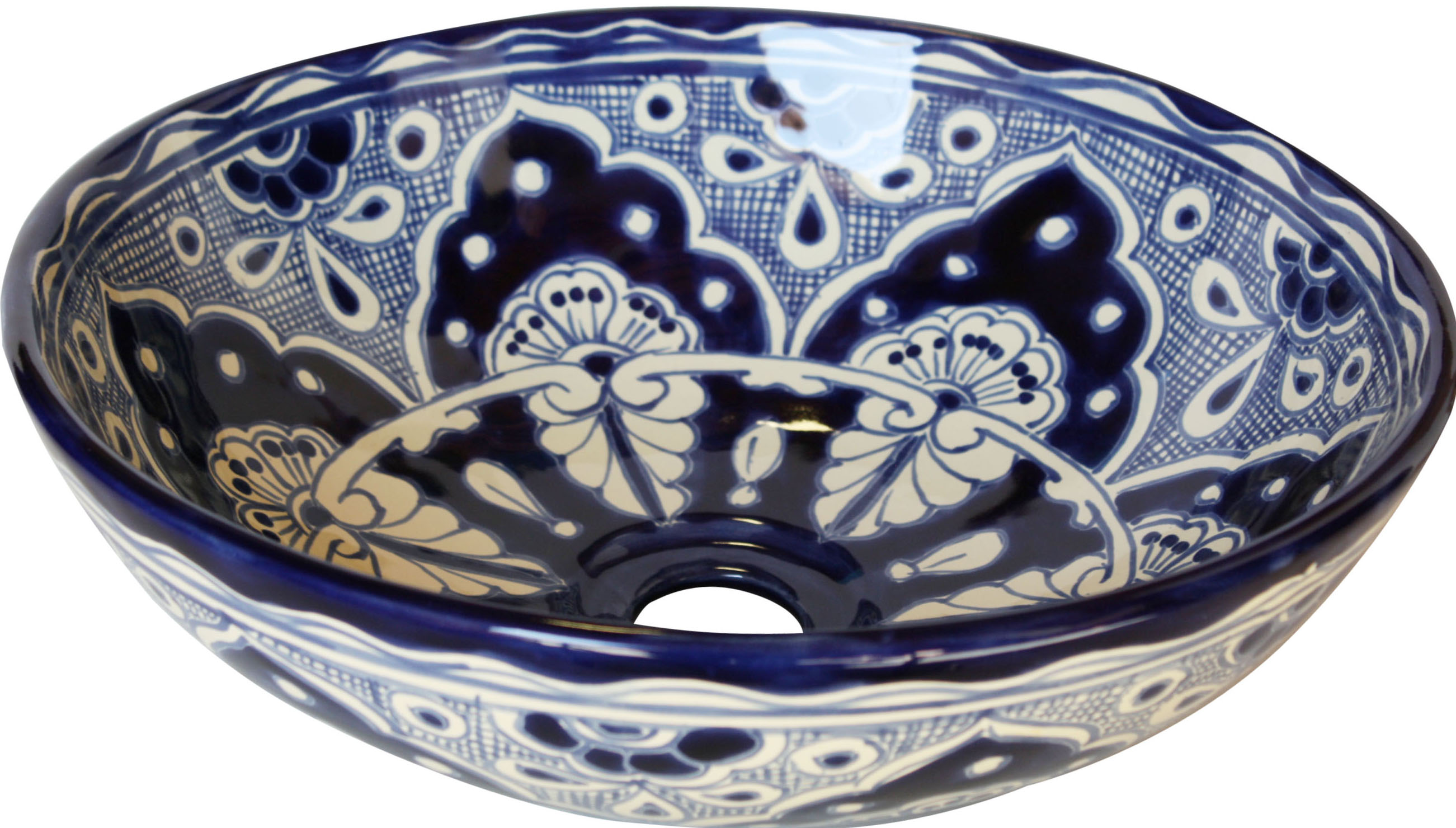 Small Blue Ceramic Talavera Mexican Vessel Sink