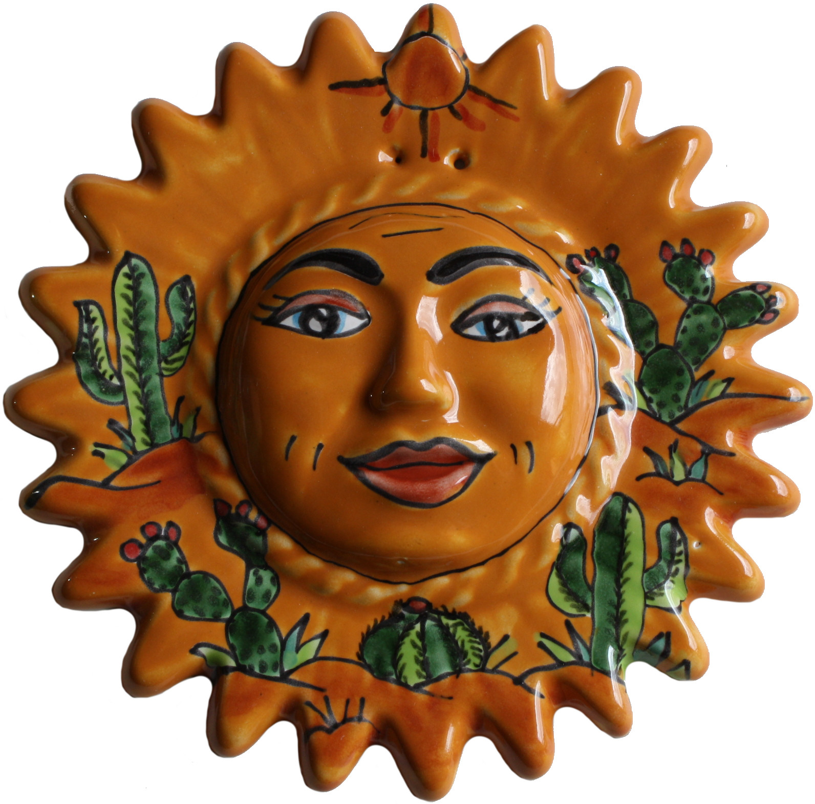 Small-Sized Desert Talavera Ceramic Sun Face