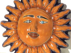 Medium-Sized Talavera Ceramic Sun Face Close-Up