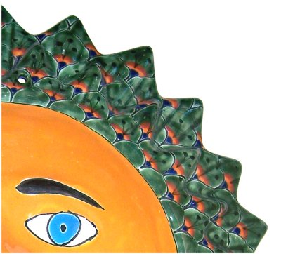Big Green Peacock Talavera Ceramic Sun Face Close-Up