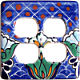 Blue Mesh Talavera Double Outlet Switch Plate