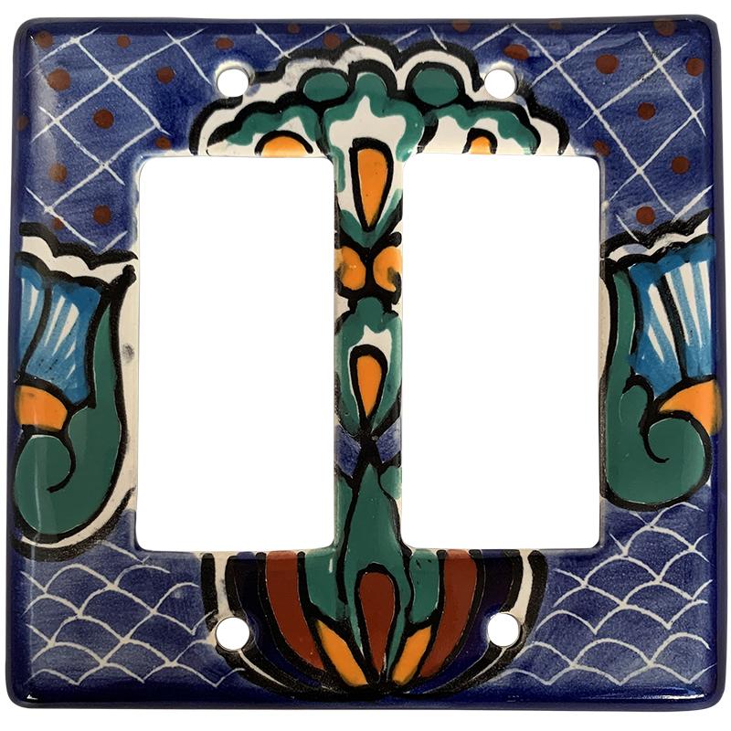 Double Decora Blue Mesh Talavera Switch Plate