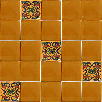 Yellow Talavera Mexican Tile Close-Up