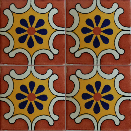 Arab Terra Talavera Mexican Tile Close-Up